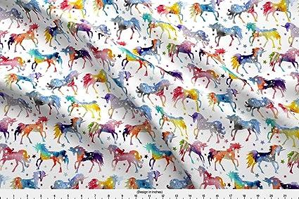 Spoonflower Unicorns Fabric Rainbow Watercolour Galaxy Unicorns - White  Background by Emmaallardsmith Printed on Basic Cotton Ultra Fabric by The  Yard