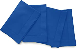 Solino Home Hemstitch Cotton Linen Dinner Napkins – Set of 4, 20 x 20 Inch Blue Natural Fabric – Machine Washable Handcrafted with Mitered Corners