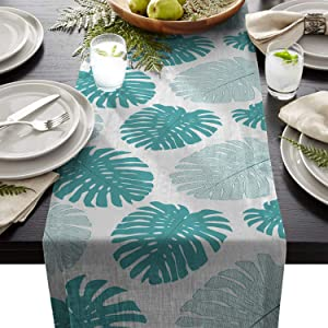 BetterDay Cotton Linen Table Runner, Tropical Plant Teal Monstera Burlap Table Runners for Party Wedding Dining Farmhouse Outdoor Picnics Table Top Decor, 13X70 Inch