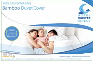 Hotel Sheets Direct 100% Bamboo Duvet Cover 3 Piece Set - Better Than Silk - 1 Duvet Cover, 2 Pillow Shams with Corner Ties and Zipper Closure - King/California King, White