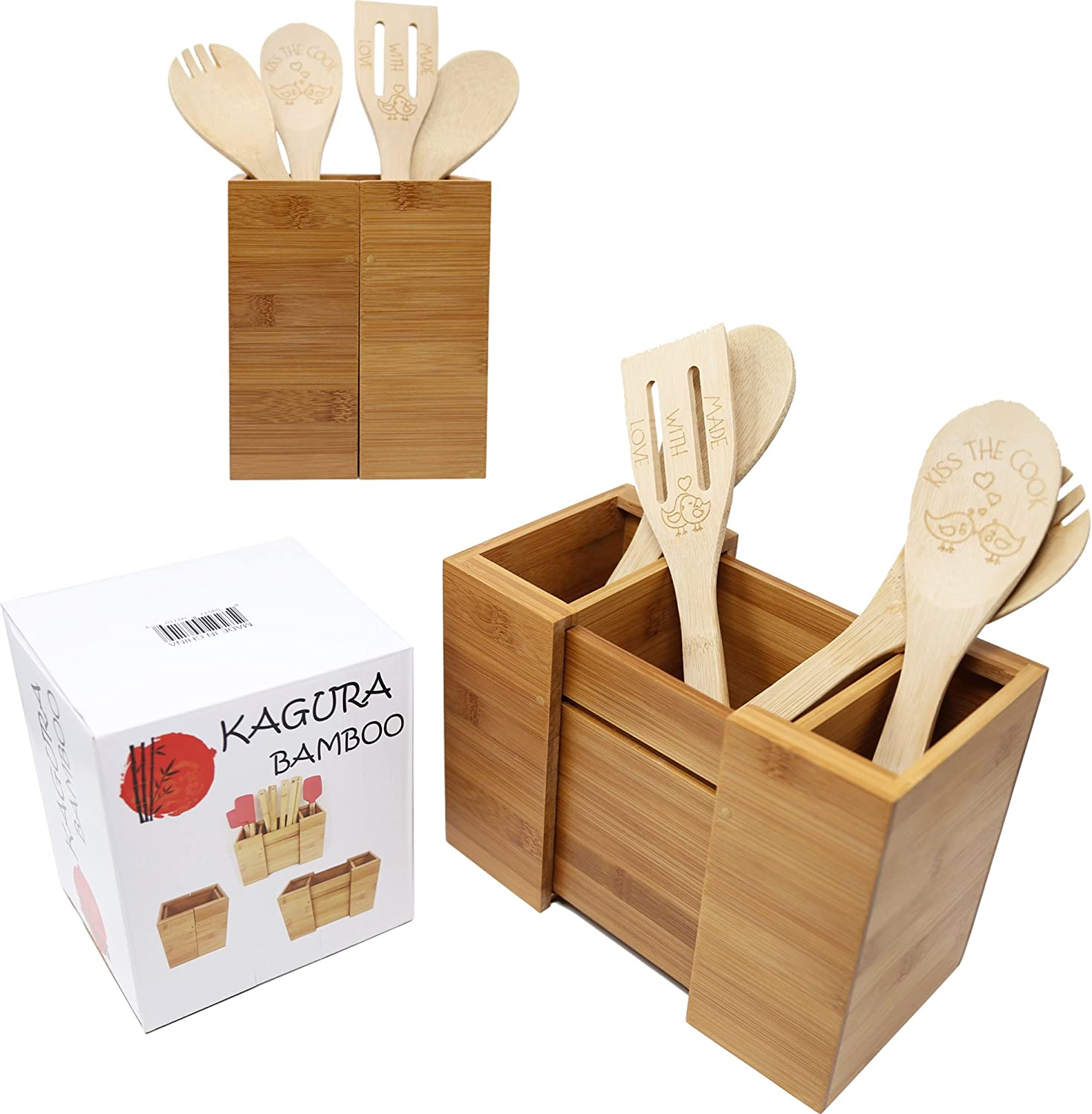 Bamboo Expandable Utensil Holder Organizer|Constructed from 100% Real  Bamboo Wood● Durable ●Dividers for Flatware and Kitchen Utensils