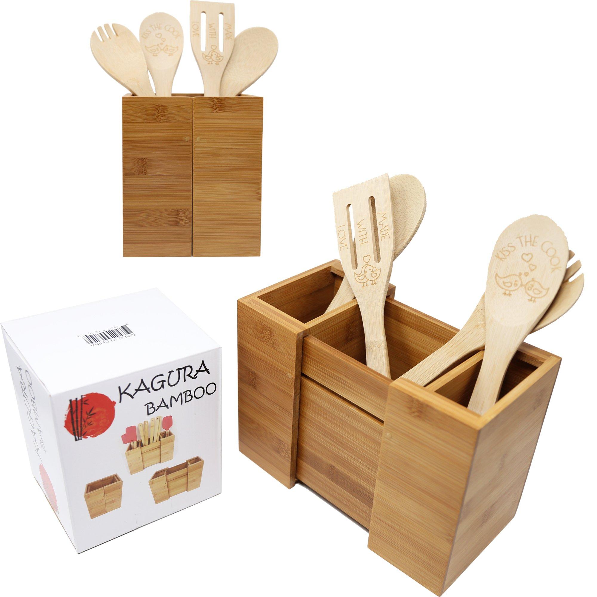 Kagura Bamboo Expandable Utensil Holder Divider Organizer for Kitchen Spatula Caddy Cutlery Silverware Flatware 100% Real-Bamboo Eco-Friendly