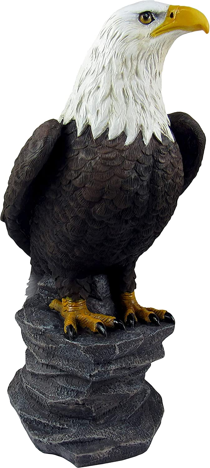 DWK - Liberty - Majestic American Bald Eagle on Rock Desk Statue Figurine Patriotic Sculpture USA Freedom Office Bookshelf Tabletop Home Decor Accent, 9-inch