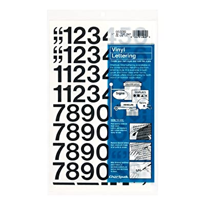 Chartpak Self-Adhesive Vinyl Numbers, 1 Inches High, Black, 44 per Pack (01130): Office Products
