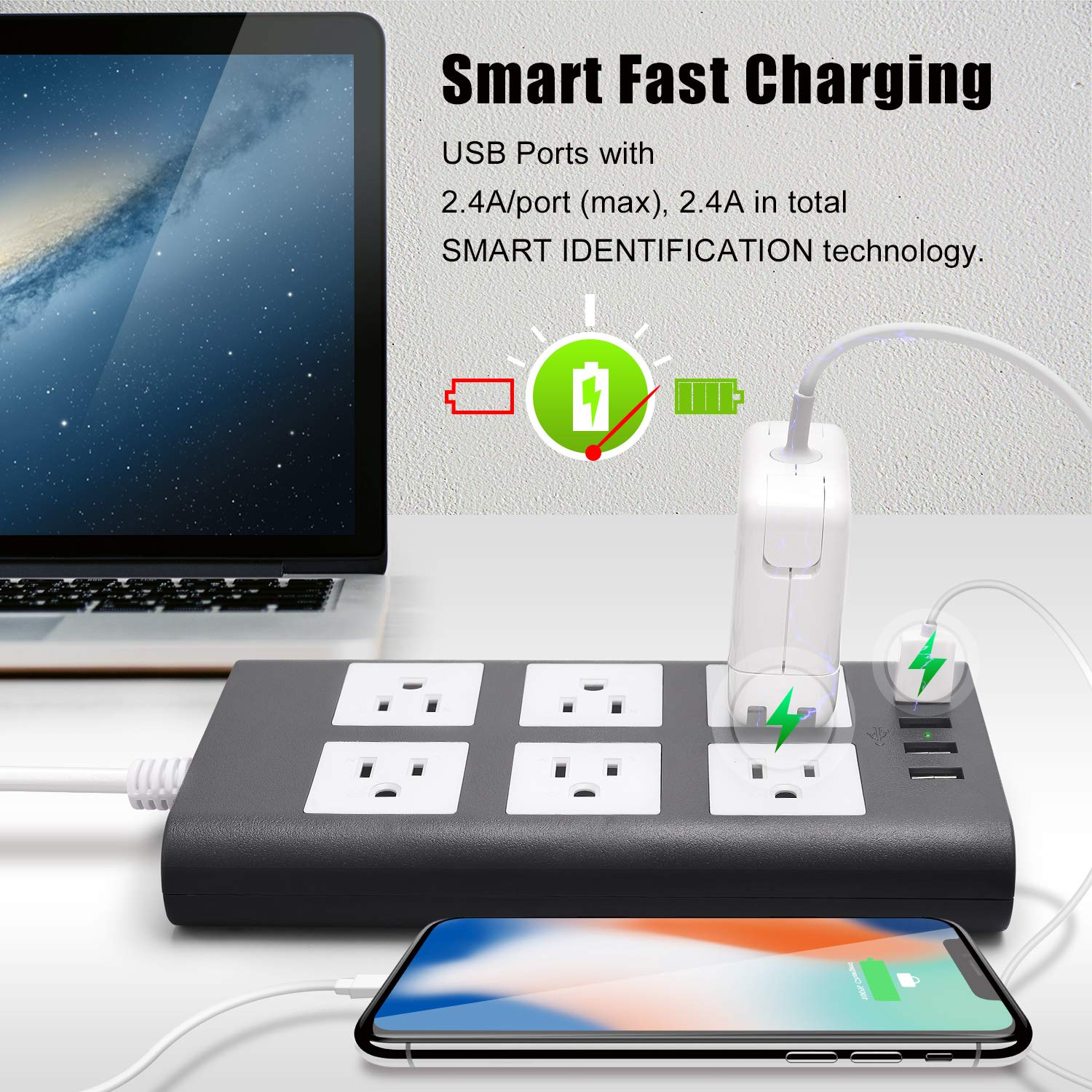 10ft 14AWG 15A Surge Protector Power Strip with USB – SUPERDANNY Heavy Duty Extension Cord Flat Plug 6-Outlet 4 USB 2.4A Fast Charging 1080J for iPhone iPad Home Indoor Office Desktop Gray White