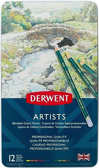 DERWENT ARTISTS TIN of 72 blendable colour pencils