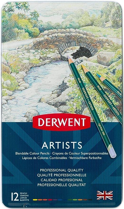 Nuevo Colorante Lápices Derwent Academy en Metal Lata Pack de 12