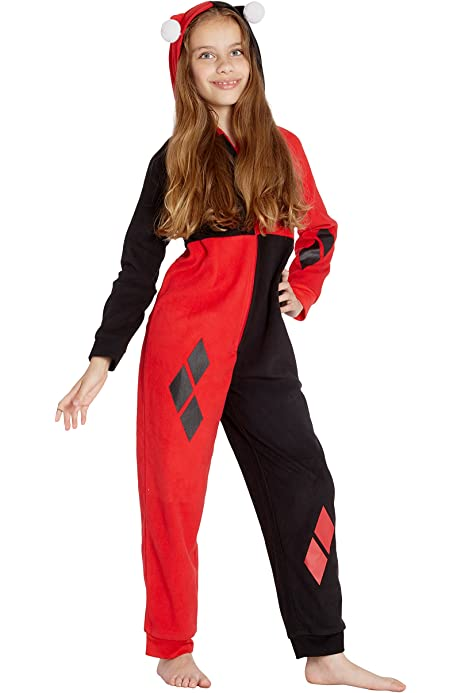 Amazon.com: DC Comics Girls Harley Quinn Costume One Piece ...