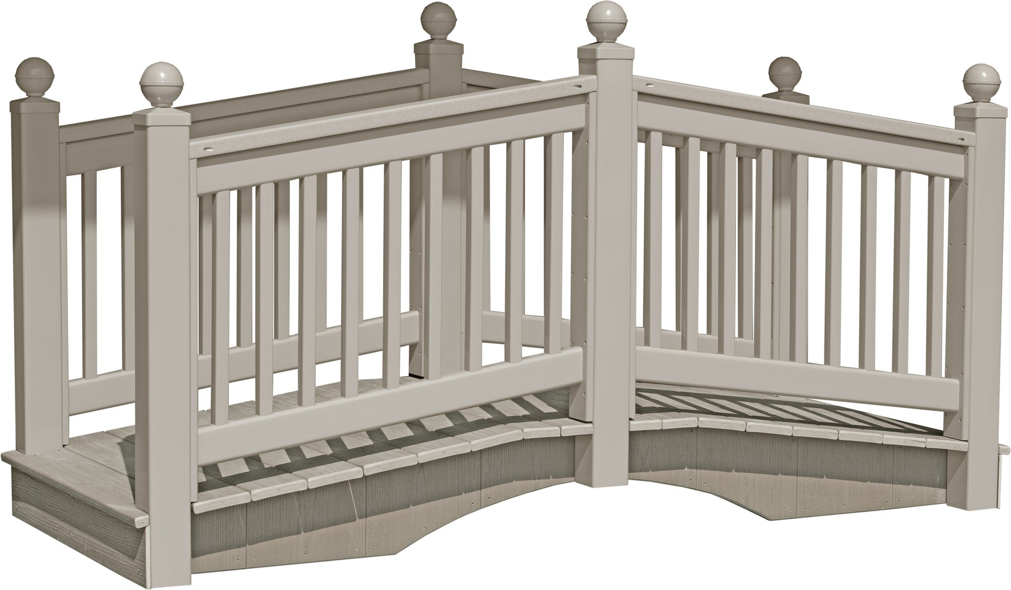 8 Foot Vinyl Outdoor Bridge with Gray Vekadeck Flooring - Clay - Amish Made in USA