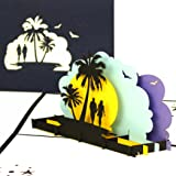 """3D Karte""""Honeymoon - Sunset Beach"""" - Pop Up Karten als Reisegutschein, Geburtstagskarte, Hochzeitskarte - Urlaub & Strand zur Hochzeitsreise, Wellness Wochenende – Geschenkverpackung & Hotelgutschein"""