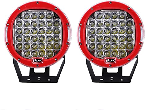 2X 7inch 51W Round Led Work Lights Bull Bar Driving Pods Bike Truck Off Road 4WD