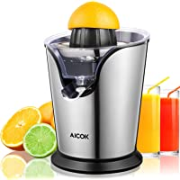 Aicok Citrus Juicer Electric Orange Juicer, Professional Brushed Stainless Steel Fruit Juicer, Double Size Cones Lemon Juicer with Anti-drip Function, BPA Free, Easy to Clean, 100W
