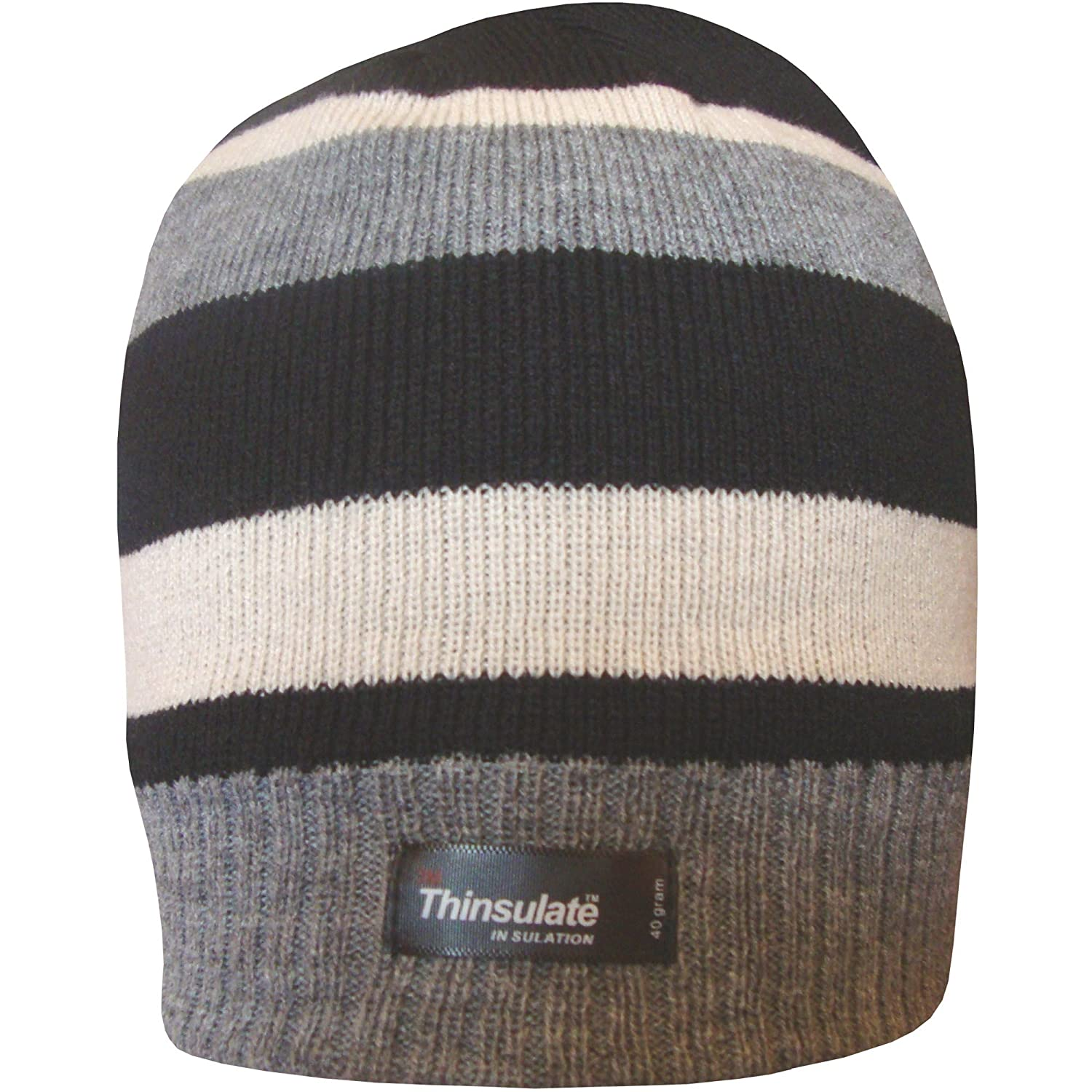 Boys Striped Design Thermal Knit Fleece Lined Thinsulate Winter Beanie Hat BoysBEANIEStripesAIRF
