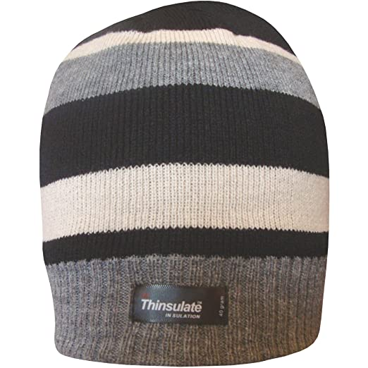 fdaa367c9 TeddyT's Boys Striped Design Thermal Knit Fleece Lined Thinsulate Winter  Beanie Hat