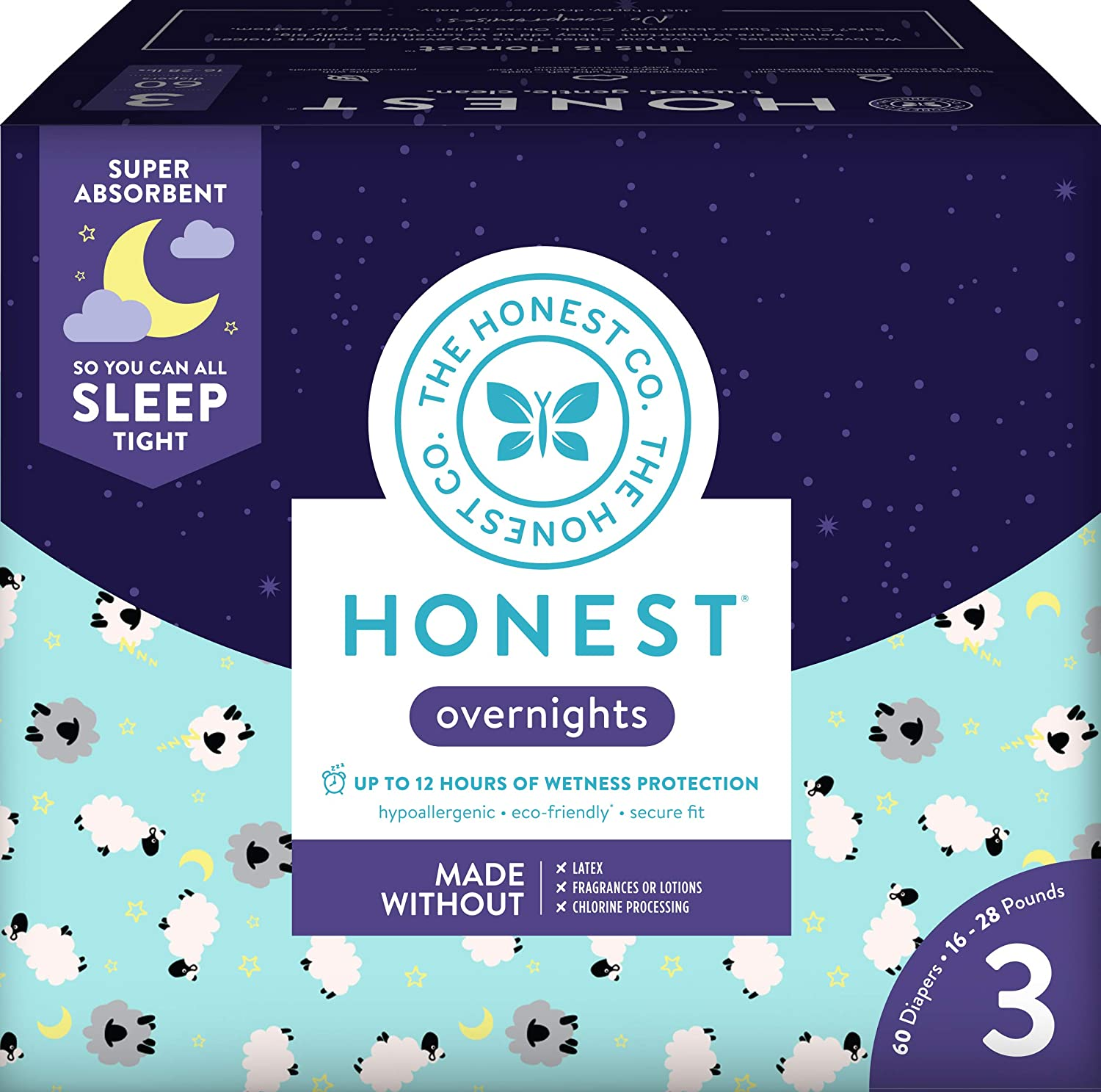 Honest Overnight Baby Diapers, Club Box, Sleepy Sheep, Size 3, 60 Count The Honest Company HPC 817810028311