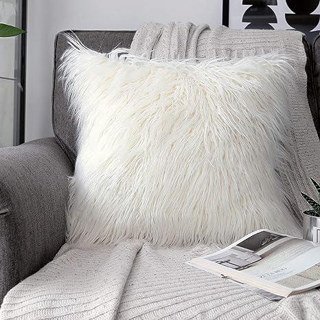 phantoscope decorative new luxury series merino style fur throw pillow case cushion cover 18 x 18 45cm x 45cm off white