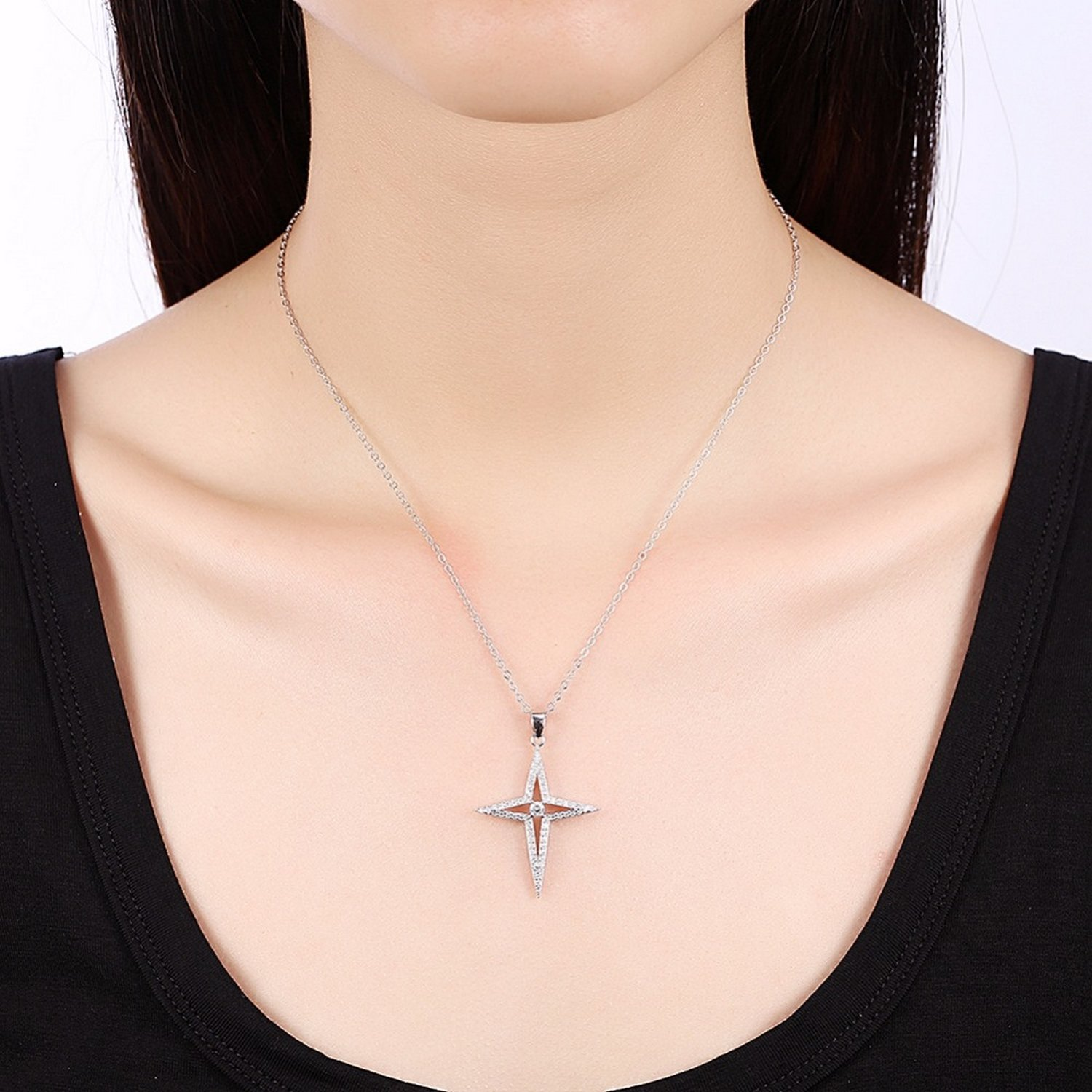 CS-DB Jewelry Silver Cross Star with Clear CZ Chain Charm Pendants Necklaces