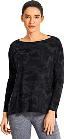 CRZ YOGA Women's Casual Long Sleeves Pima Cotton Workout T-Shirt Sports Boat Neck Top