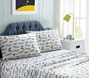 Kute Kids Super Soft Sheet Set – Sharks – Includes Pillowcase(s) Available in Twin & Full Size (Full)