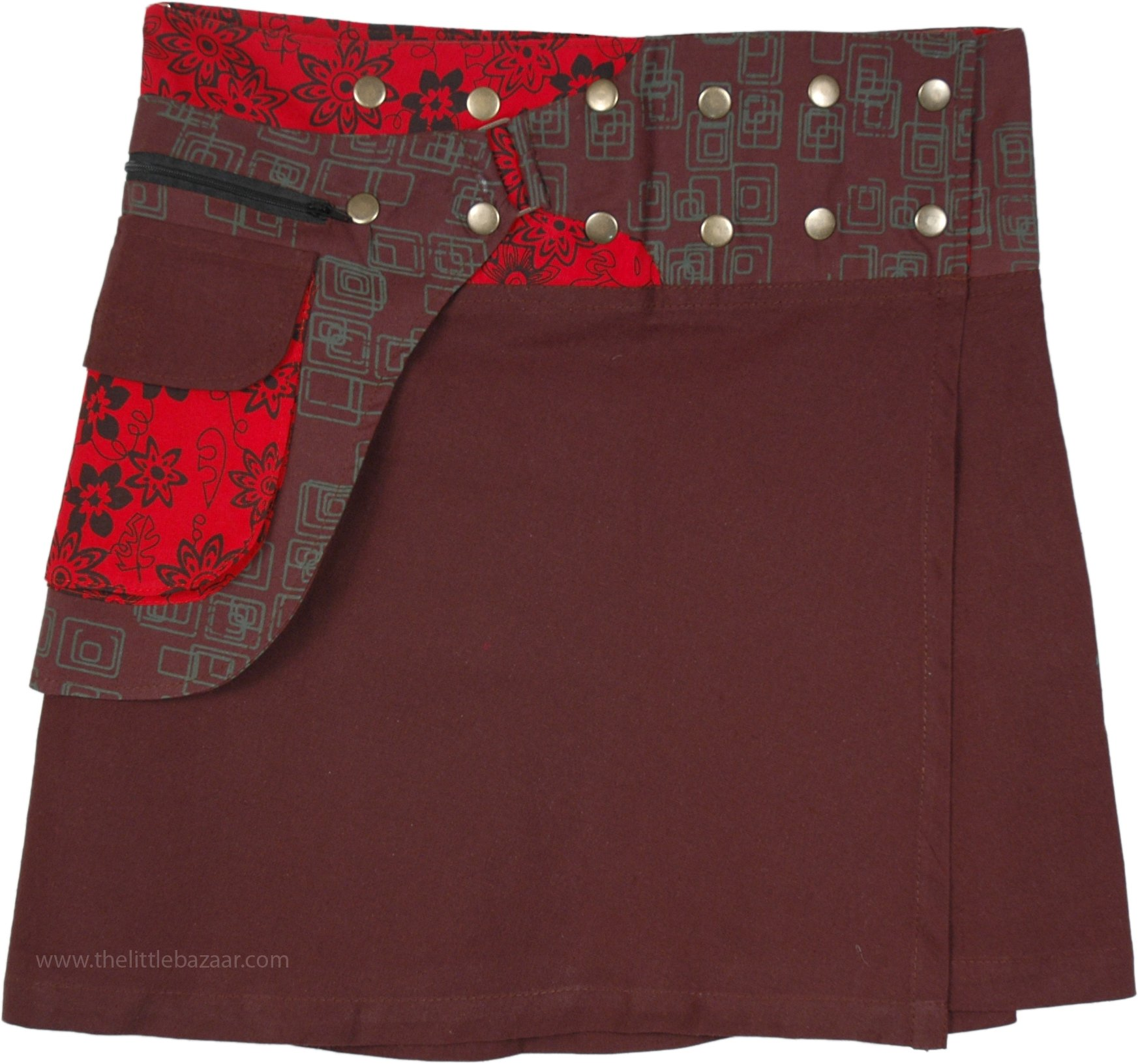 TLB Snap Wrap Short Skirt With Fanny Pack - L:18''; W:22''-38''