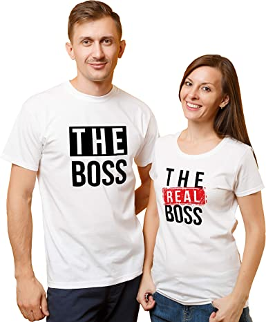 The Boss The Real Boss Couples White T-shirts Set Valentine/'s Gift