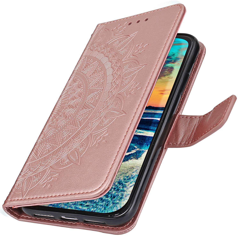 Coque Compatible avec Xiaomi Redmi 7A /Étui KunyFond PU Cuir Flip Housse Portefeuille Soleil Fleur Mandala Impression Mod/èle Fentes pour Cartes Fermeture Magn/étique Antichoc B/équille Bumper,Or Rose