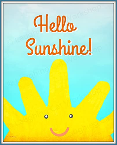 Amazoncom Whimsical Childrens Art Print Hello Sunshine Nursery