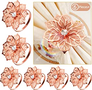 6 Pieces Alloy Napkin Rings with Hollow Flower Napkin Holder Adornment Exquisite Napkins Rings Set Rhinestone Thanksgiving Napkin Rings for Wedding Banquet Christmas Dinner Decor Favor (Rose Gold)