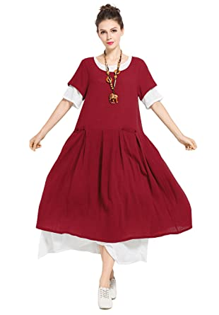 9aa2a686bc0 Anysize Spring Summer Soft Linen Cotton Plus Size Dress F129A at Amazon  Women s Clothing store