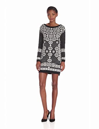 Juicy Couture Women's Geo Snowflake Dress, Pitch Black/Angel, X-Small