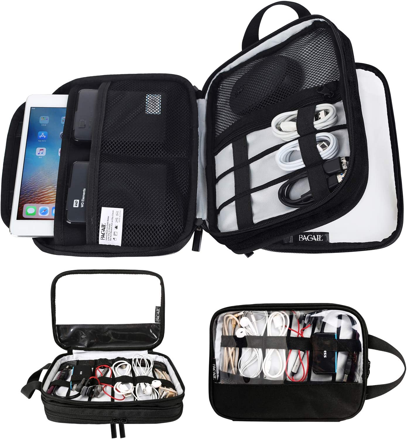 Black Power Bank,etc. Telephone USB Drive BAGAIL Electronic Organizer Travel Double Layer Portable Cable Storage Bag for Charging Cable SD Card