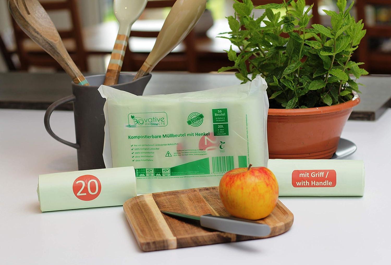 Bolsas de basura org/ánica de 10 litros con y sin mango para su basura org/ánica y compost. Bolsas de basura org/ánica compostable 10L con y sin asa 100/% compostable y biodegradable 100 piezas