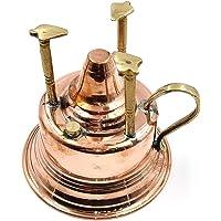 Brass Handmade Copper Turkish Coffee Maker Alcohol Burner Brewing English Coffee Using Traditional Tabletop Burner