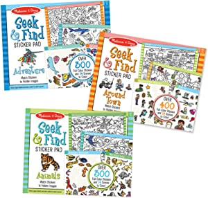 Melissa & Doug Seek & Find Sticker Pad 3-Pack, Around Town, Adventure, Animals, Each Includes 400+ Stickers, 14 Scenes to Color, 14
