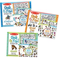 Melissa & Doug Seek & Find Sticker Pad 3-Pack, Around Town, Adventure, Animals (Each Includes 300+ Stickers, 14 Scenes to Color, Great Gift for Girls and Boys - Best for 4, 5, 6 Year Olds and Up)