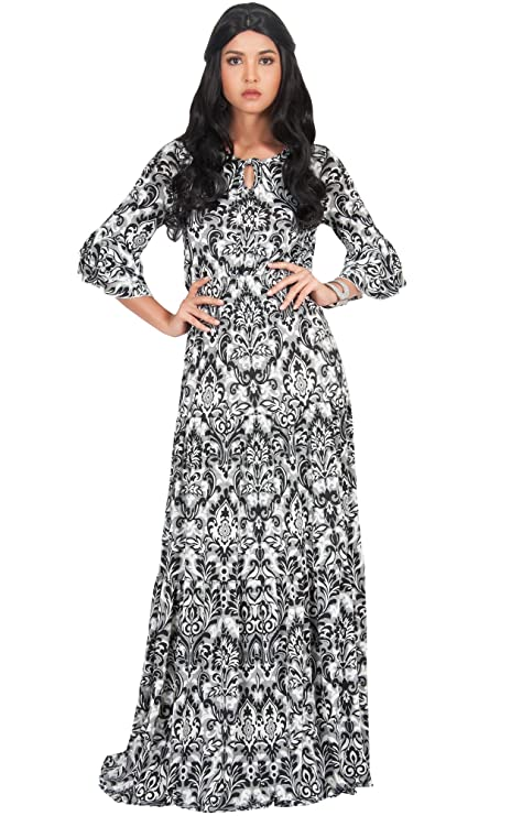 KOH KOH Petite Womens Long Half Sleeve Peasant Print Flowy Boho Casual Cute Maternity Empire Waist Renaissance Boho Gown Gowns Maxi Dress Dresses for Women, Black S 4-6 best long-sleeved dresses