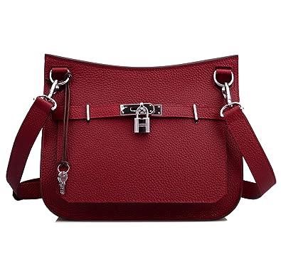 52852d7177e Ainifeel Women s Padlock Genuine Leather Messenger Bag Cross Body Bag  Satchel Purse (Claret)