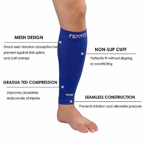 Featol Pantorrillas Medias de compresión sin pie, para la recuperación del síndrome del nervio tibial y venas varicosas, espinillera para deportes y ...