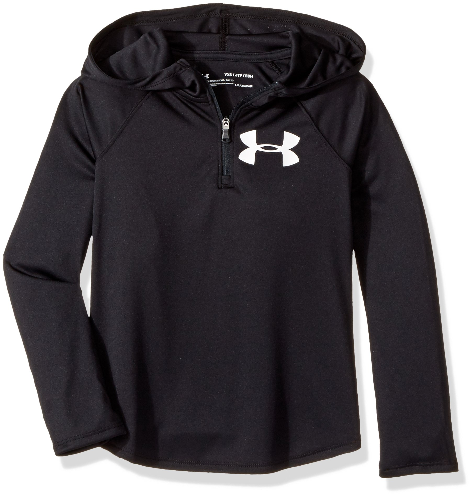 Under Armour Girls' Tech 1/4 Zip Hoody,Black (001)/White, Youth X-Small