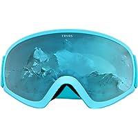 Traverse Sports Iris Youth Ski Snowboard/Snowmobile Goggles, Sky Blue/Lemon