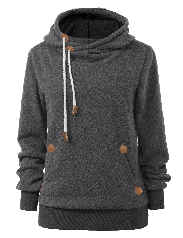 Cindeyar Women Hoodies Plain Jumper Long Sleeve High Necked Pocket Hooded Casual Sweater Sweatshirt Jacket Coat Pullover Tops