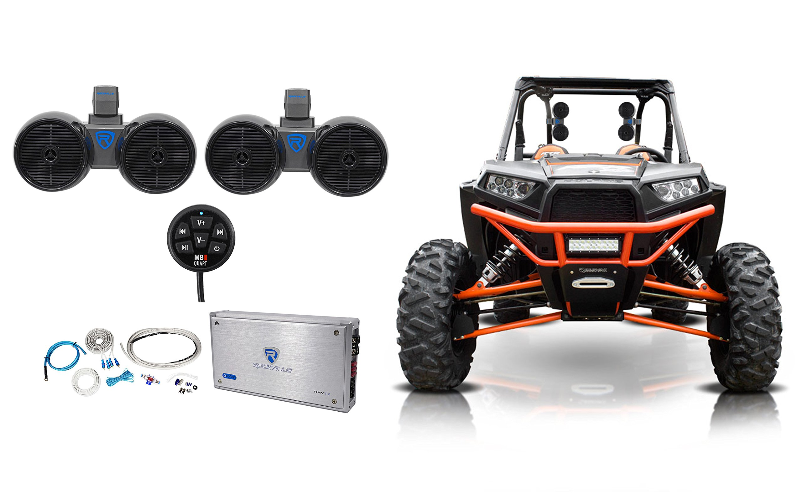2 Rockville Dual 6.5'' Speakers+Amp+Bluetooth Controller Polaris RZR/Jeep/ATV/UTV