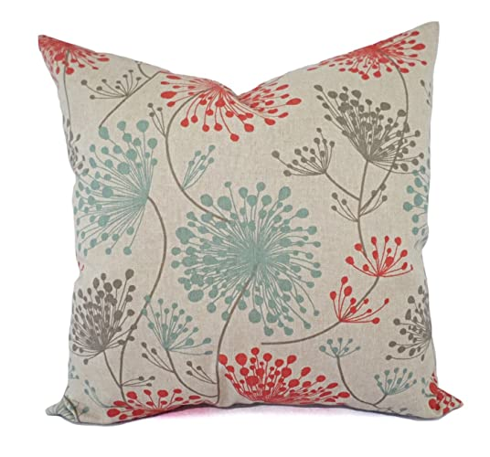 Amazoncom Orange Blue and Beige Floral Pillow Shams Orange Blue
