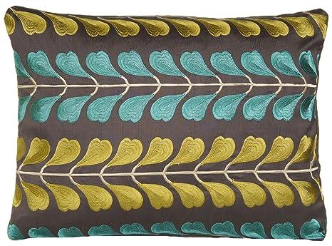 Color verde y turquesa hojas cojín marrón bordado seda ...