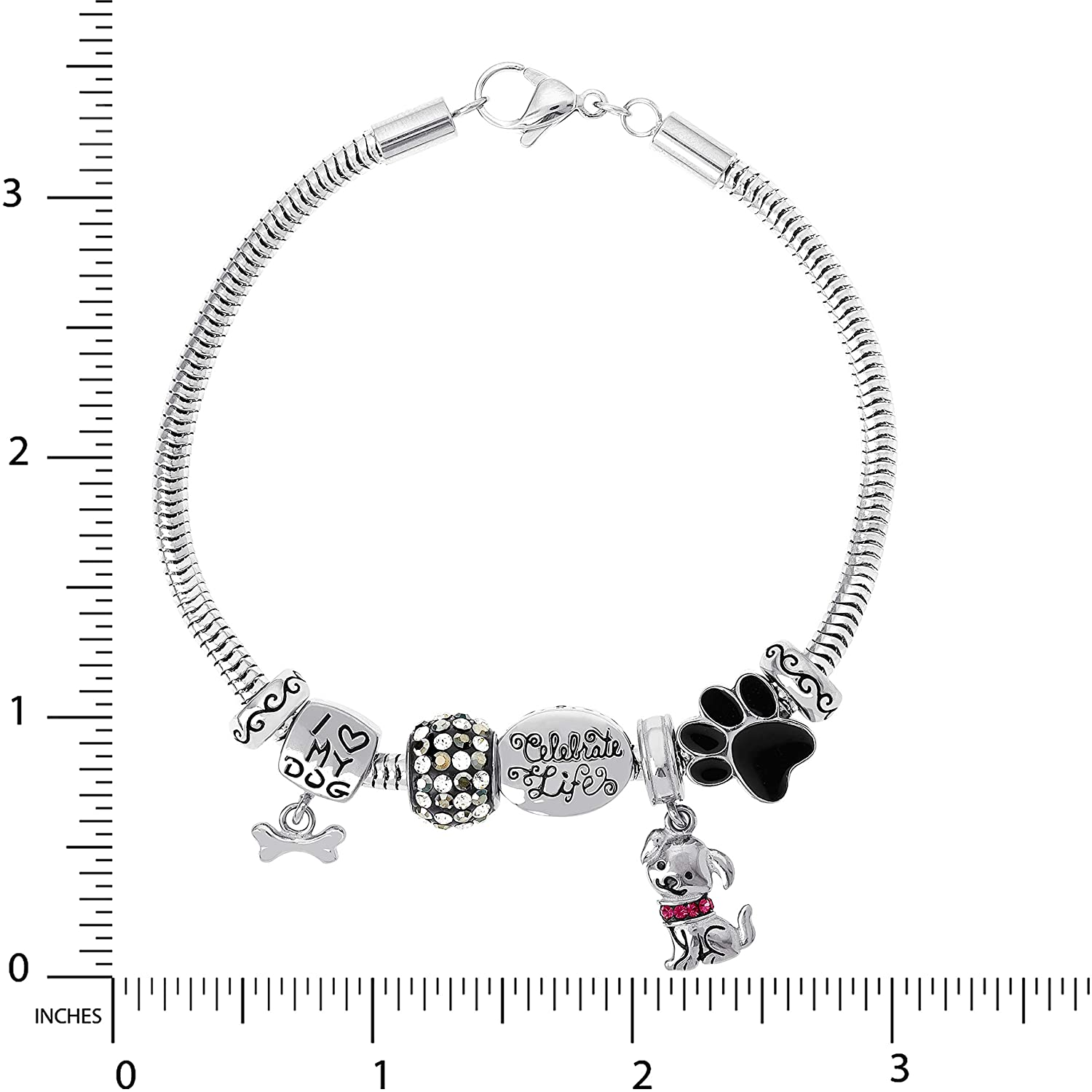 Connections from Hallmark Stainless Steel Limited Edition Dog Bracelet Charm Pack Jacmel B600207L-77NJ
