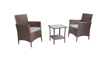 Cool Baner Garden 3Piece Outdoor Furniture Complete Patio Wicker Rattan Conversation Set Q16 Ch Chocolate Machost Co Dining Chair Design Ideas Machostcouk