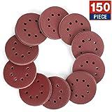 WORKPRO 150-piece Sandpaper Set - 5-Inch 8-Hole Sanding Discs 10 Grades Include 60, 80, 100, 120, 150,180, 240, 320, 400, 600 Grits for Random Orbital Sander(Not for Oscillating Tools or Mouse Sander)