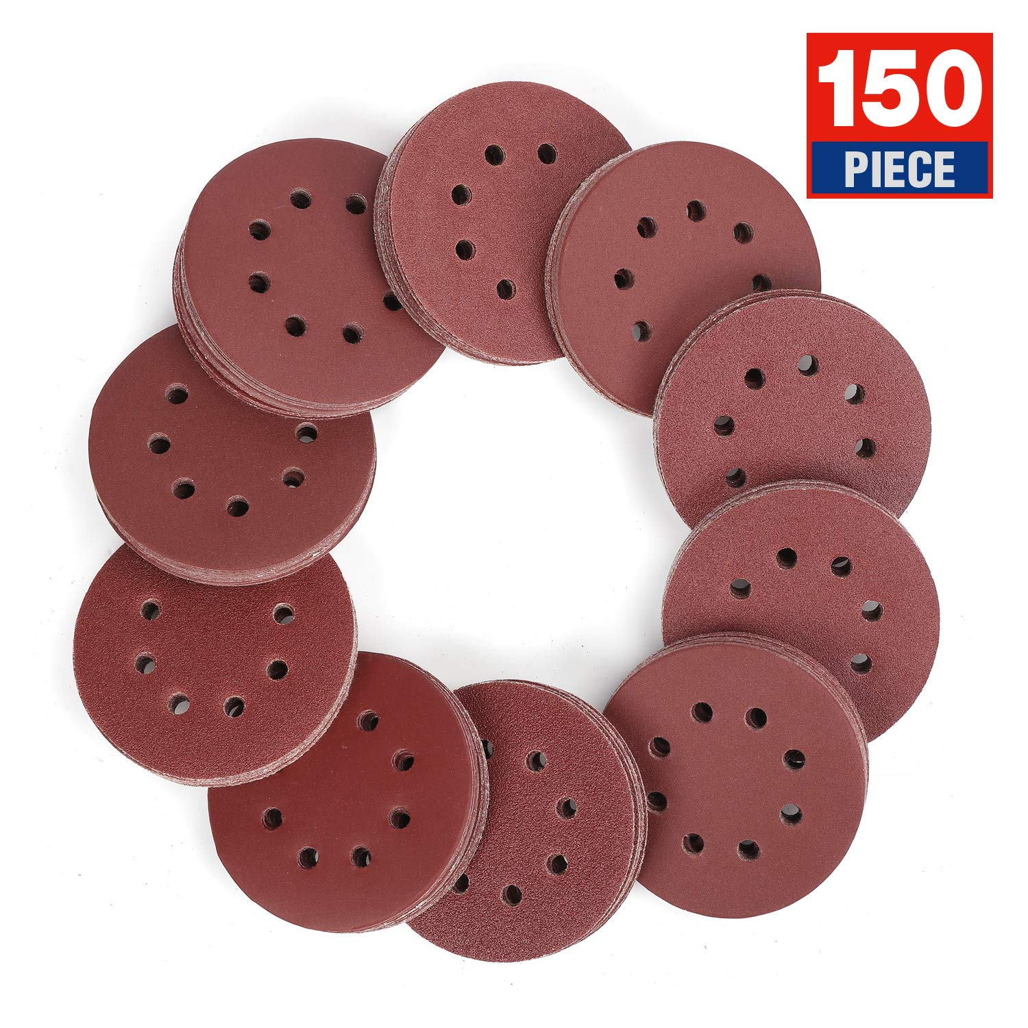 WORKPRO 150-piece Sandpaper Set - 5-Inch 8-Hole Sanding Discs 10 Grades Includ 60, 80, 100, 120, 150,180, 240, 320, 400, 600 Grits for Random Orbital Sander (Not for Oscillating Tools or Mouse Sander) by WORKPRO