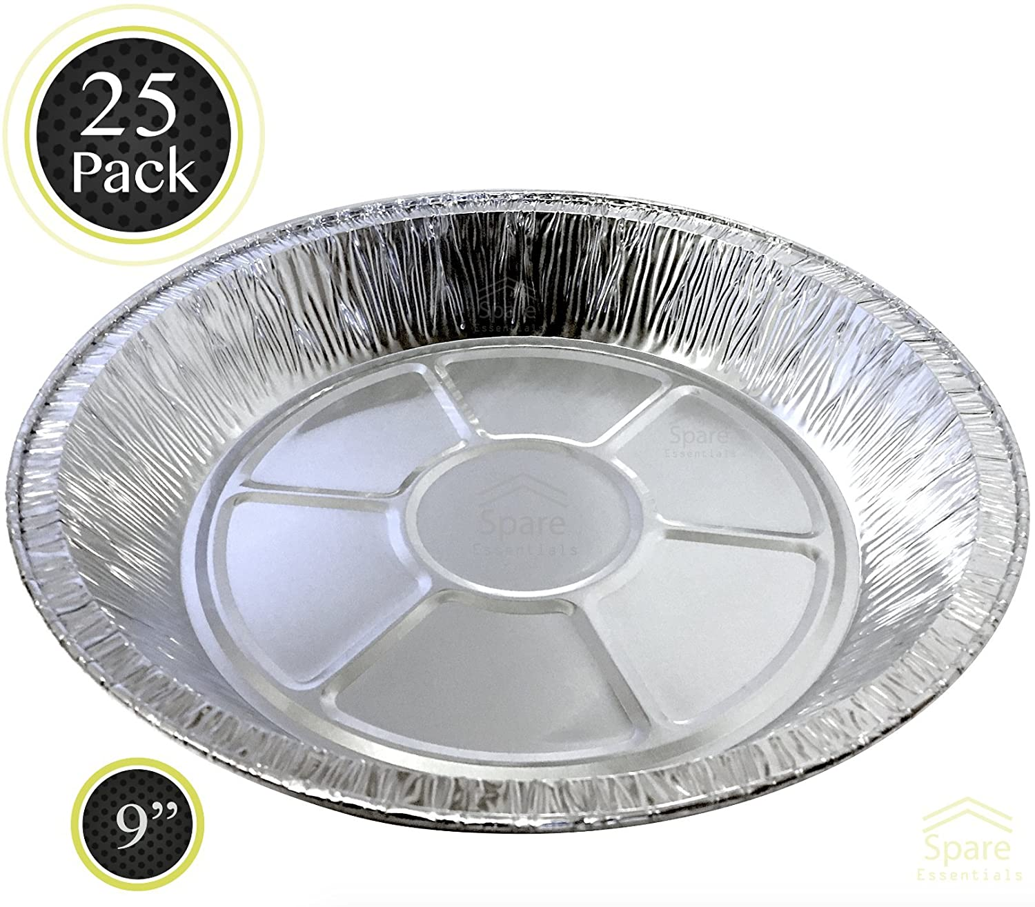 25 PACK - Prime Pie Pans. Ideal for Tasteful Cakes and Pies. Sturdy Aluminum Foil Pans. Disposable Tin Plates for Tart/Pie – SIZE 9'' Spare
