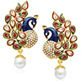 YouBella Blue Dancing Peacock Gold Plated Jewellery Earrings for Women